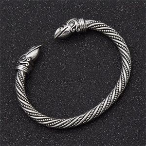 Viking Crows Silver Sacred Arm Ring Bracelet